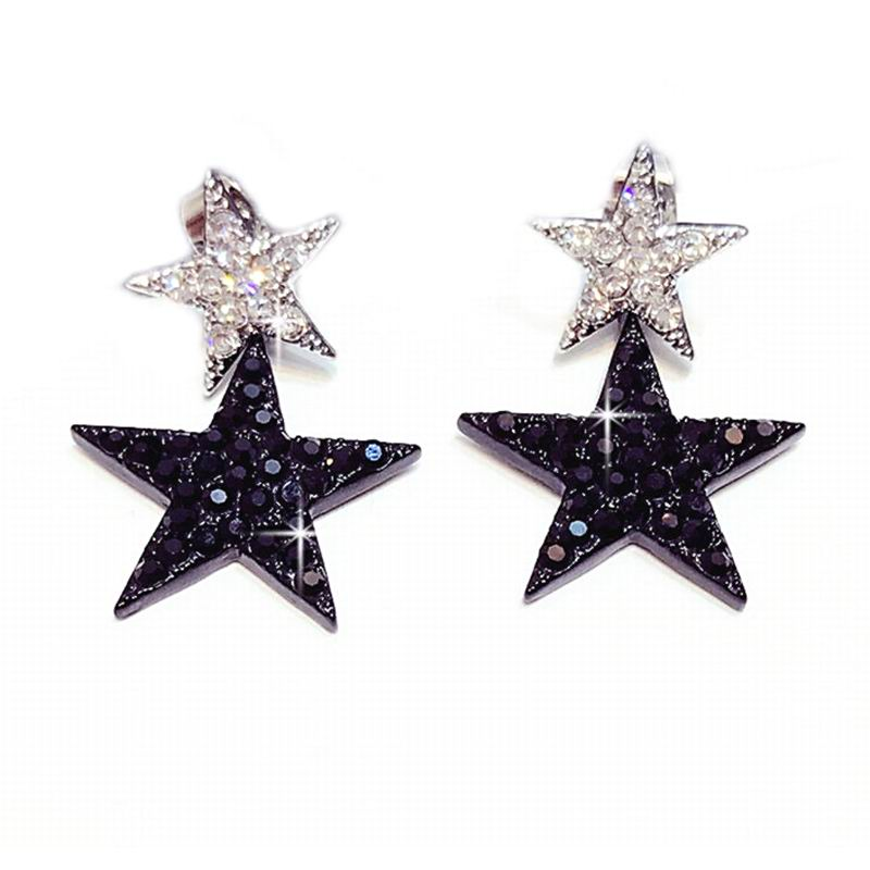Elegant Black Lucky Star Drop Earrings For Women Bijoux Fashion Jewelry Whole Cute Christmas Gift All Match Dropping