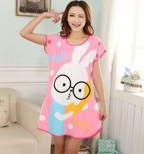 Nightgown Nightwear Loose rabbi tWomen DresNightdress sleepwear leisurewear sleepdress women sleepshirt Free Shipping