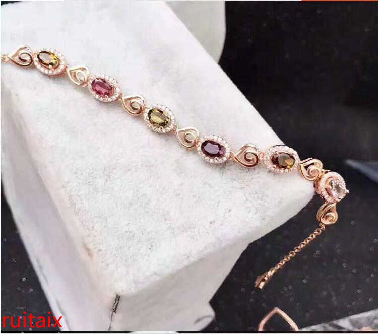 KJJEAXCMY fine jewelry S925 pure silver bracelet natural tourmaline double heart female bracelet wholesale jewelry. s925 pure silver silver pearl tassel circle brand personality joker contracted female bracelet hand string of wholesale