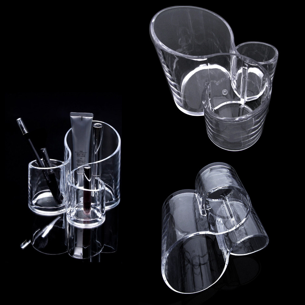 Behogar Acrylic Clear Cosmetic Jewelry Makeup Brush Organiser Lipstick Holder Make up Organizer Container Storage Box