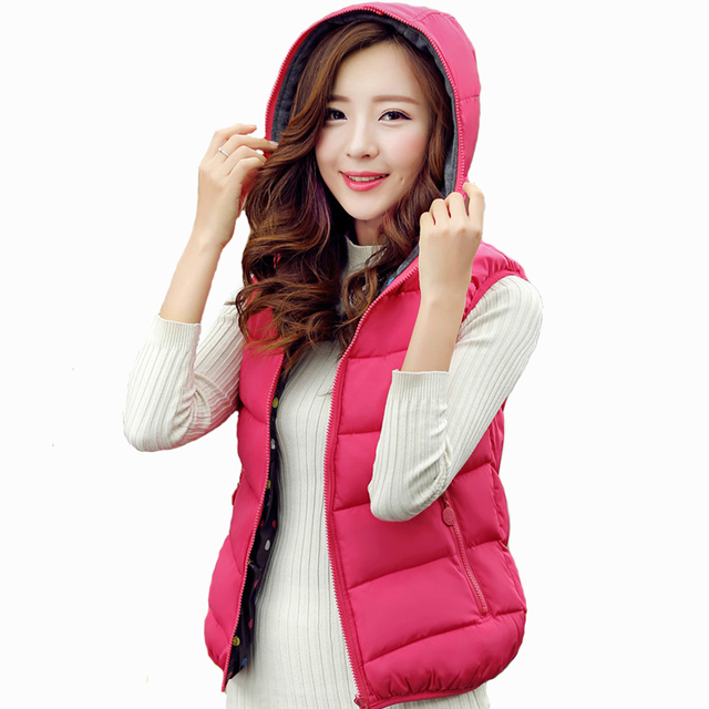 Aliexpress.com : Buy Reversible Down Jacket Vest Hooded Women ...