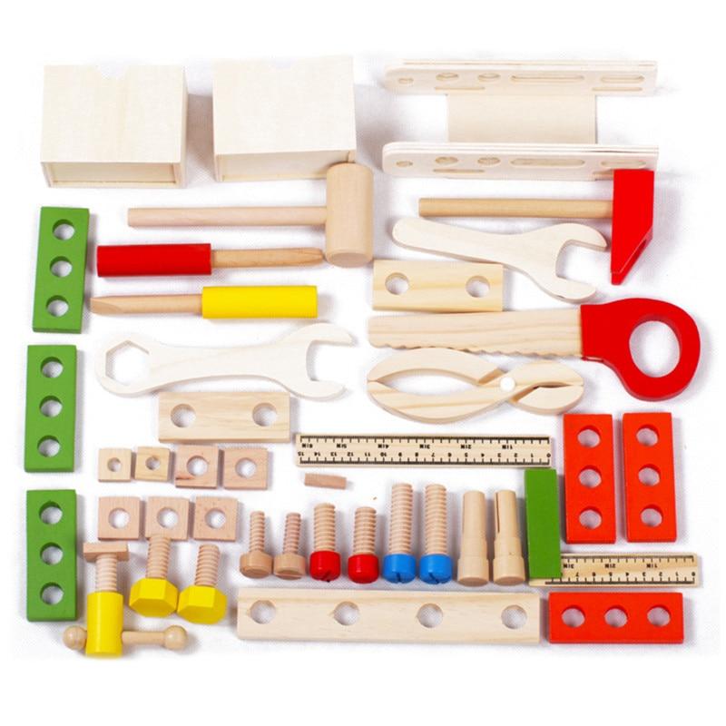 Candywood En Bois Boîte À Outils En Bois 3D Puzzle Boîte À Outils Service Simulation jouets pour Bébé enfants jouets Éducatifs garçon cadeau boîte à Outils jouet - 3