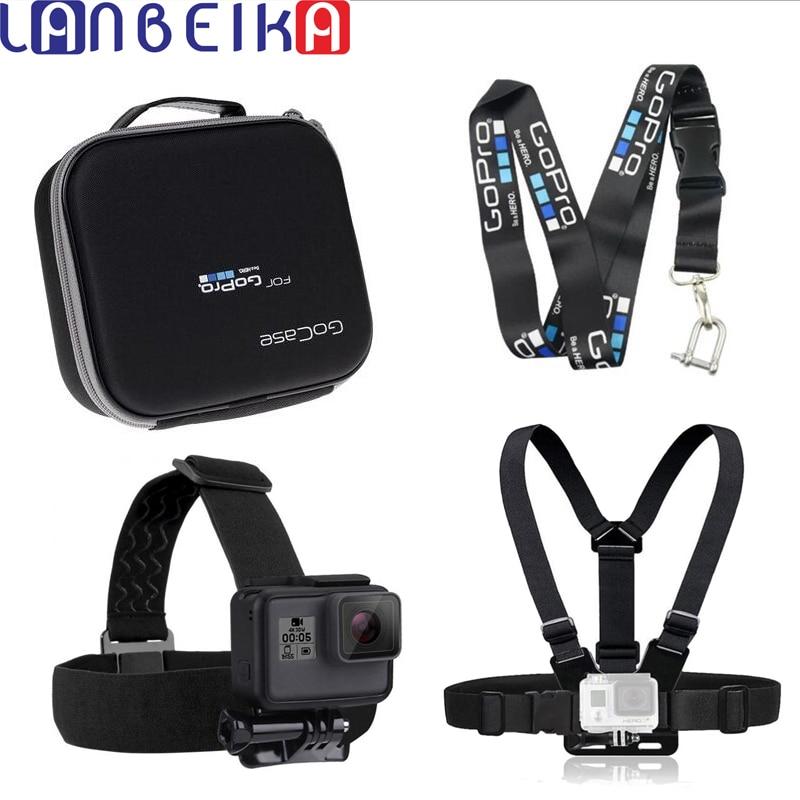 LANBEIKA Pour Gopro Sac Dur Cas Boîte + Caméra Bretelles Suspendus Corde + Sangle De Poitrine Tête Sangle pour GoPro Hero 7 6 5 4 3 + SJCAM SJ6