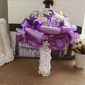 Customizable Handmade Top Quality Beaded Brooch Silk Bride Wedding Bouquet Bridesmaid Artificial Flower Forever preserve