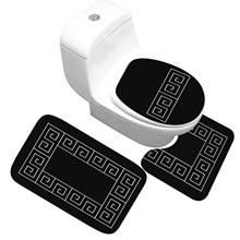 Tapete de banho 3 peças conjunto padrão clássico toalete capa de pé almofada antiderrapante absorvente tapete de porta do banheiro flanela macio tapete de banho
