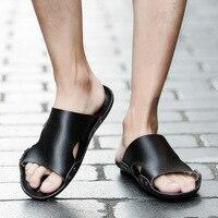 Yomior Men Shoes Men's Slippers Beach Travel Sandals Non – Slip Fashion Men Leather Casual Shoes Outside Flat Shoes Rivet Sandals