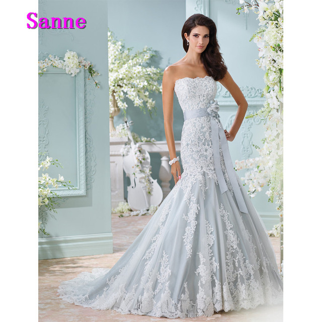 Us 217 99 New Arrival Light Blue Wedding Gown Strapless Bride Dress Applique Lace Wedding Dress Mermaid Long Bridal Dress In Wedding Dresses From