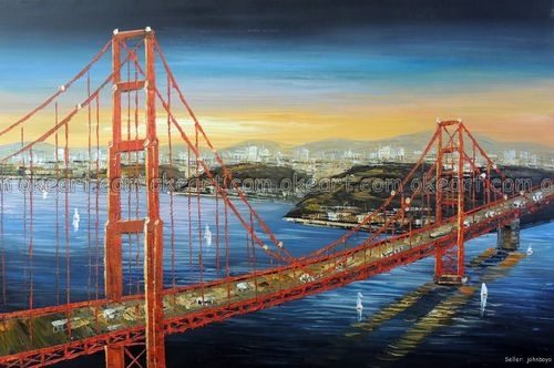 Ручной росписью Мост Золотые ворота блестящий оранжевый Восход Сан-Франциско картина маслом Высокое качество