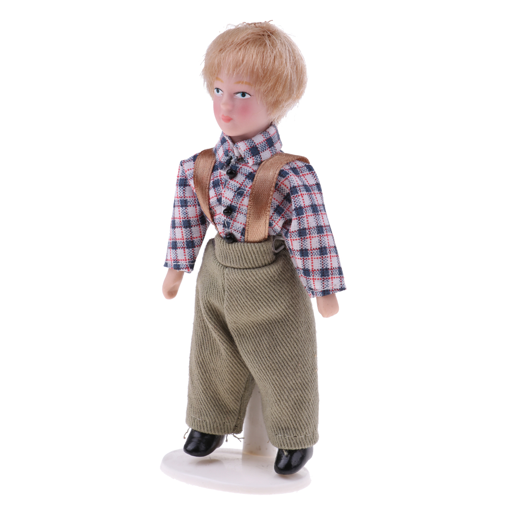 1:12 Dollhouse People Miniature Porcelain Little Boy Gentleman Doll with Display Stand Figures Model Accessories 1