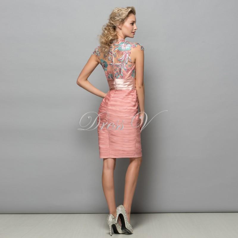 859a69f10 Dressv Pearl Pink Chiffon Vestidos de Cocktail Curto 2016 Lantejoulas  Rendas Na Altura Do Joelho Mulheres Vestido de Baile Formal Designer Vestido  de Férias
