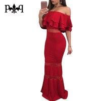Hilove Women Long Evening Party Dresses Off Shoulder Ruffles Bodycon Red Mermaid Dress Women Sexy Mesh