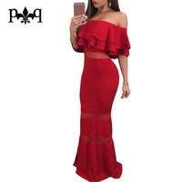 Hilove Women Long Evening Party Dresses Off Shoulder Ruffles Bodycon Red Mermaid Dress Women Sexy Mesh