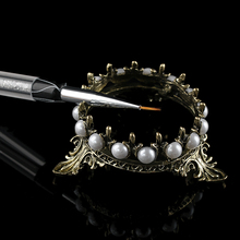 1Pc Elegant Women Lightweight Metal Crown Pearl Stand Nail A