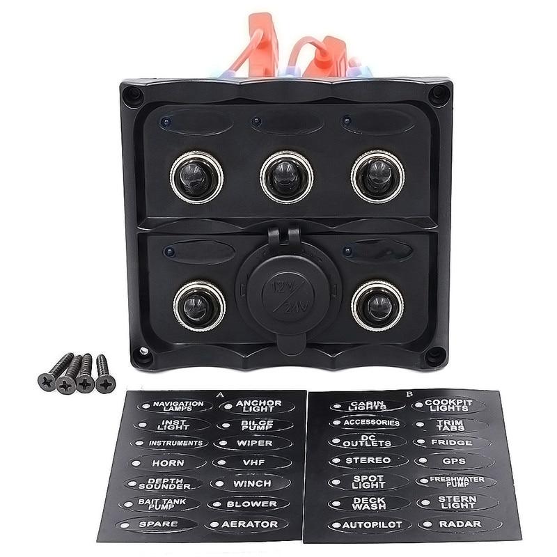Marine Grade Boat 5 Gang Switch Panel With Car Refrigerator Dedicated Socket Combination Panel Digital Battery Voltmeter