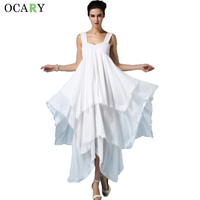 New Fashion Multi Layers Backless Beach Dress Casual Loose Boho Maxi Dress Women Summer Chiffon Dresses
