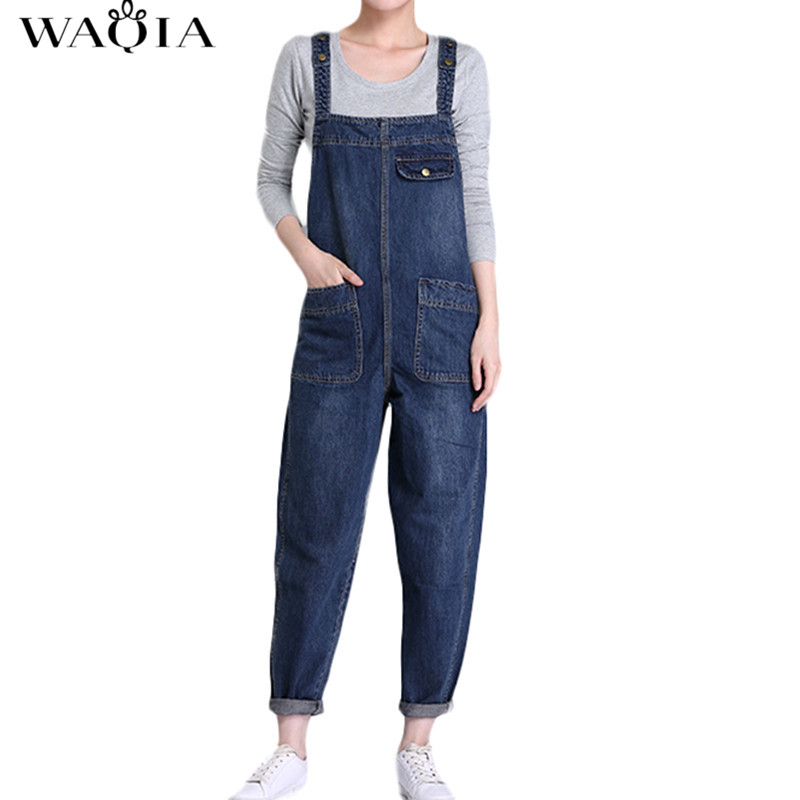 Plus Size New Women's Casual Loose Denim Overalls Lady's Solid Colors Baggy Jeans Wide Leg   Jumpsuit   Pants with Pocket for Woman