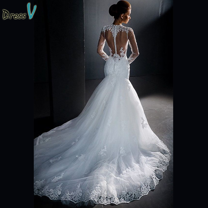 Popular long sleeve mermaid wedding dress buy cheap long for Mermaid wedding dress with sleeves