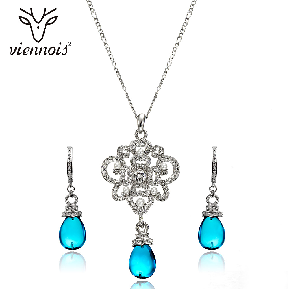 Viennois Luxury Silver Color Jewelry Sets for Women Blue Crystals Chain Necklace Earrings Set Bridal Set Wedding Jewelry Set viennois luxury silver color jewelry sets for women blue crystals chain necklace earrings set bridal set wedding jewelry set