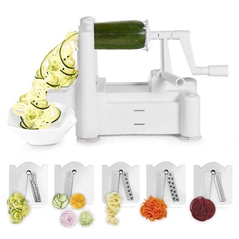 5 Lame Spiralizer Classique Plus Forte-et-Plus Lourd Devoir Légumes Spirale Slicer, meilleur Légumes Pâtes Spaghetti Maker pour Bas De Voiture