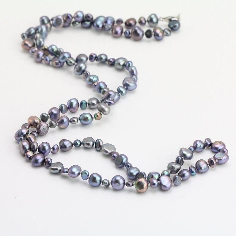 Bijouterie perles uniques, collier de perles longues de 50 pouces, collier de perles d'eau douce Nugget 4-8mm, cadeau de demoiselles d'honneur