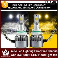 Tcart 1Set Auto led Koplamp Car D33 9006 LED Headlights Kit 36W 4000LM Car Accessories Fog Lamps White+Yellow For Audi a3 8p q7