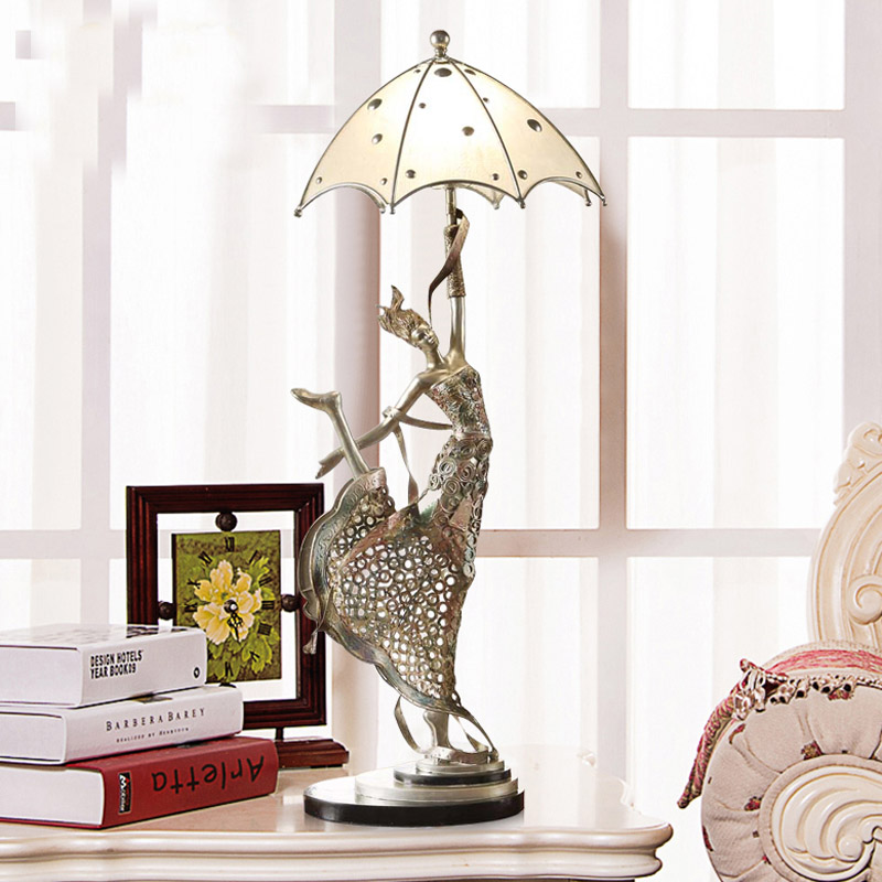 European creative fashion Dancing umbrella girl resin table lamp bedroom  bedside lamp wedding decoration retro nostalgia in Table Lamps from Lights. European creative fashion Dancing umbrella girl resin table lamp