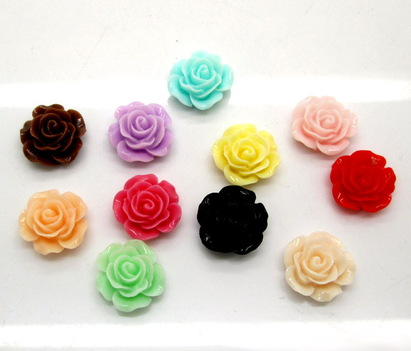 50Pcs Mixed Resin Rose Flower Beads Decoration Crafts Flatback Cabochon Scrapbooking Fit Phone Embellishments Diy Accessories