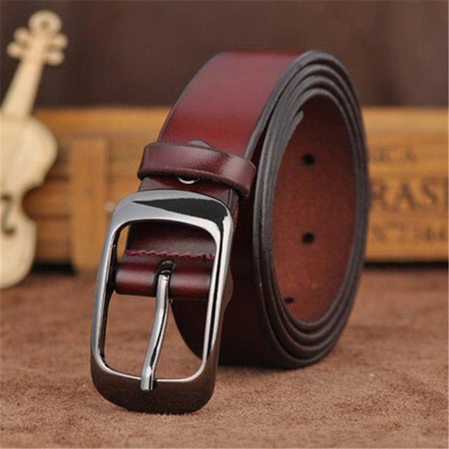 Fancy Genuine Leather Pin Buckle Belt For Women