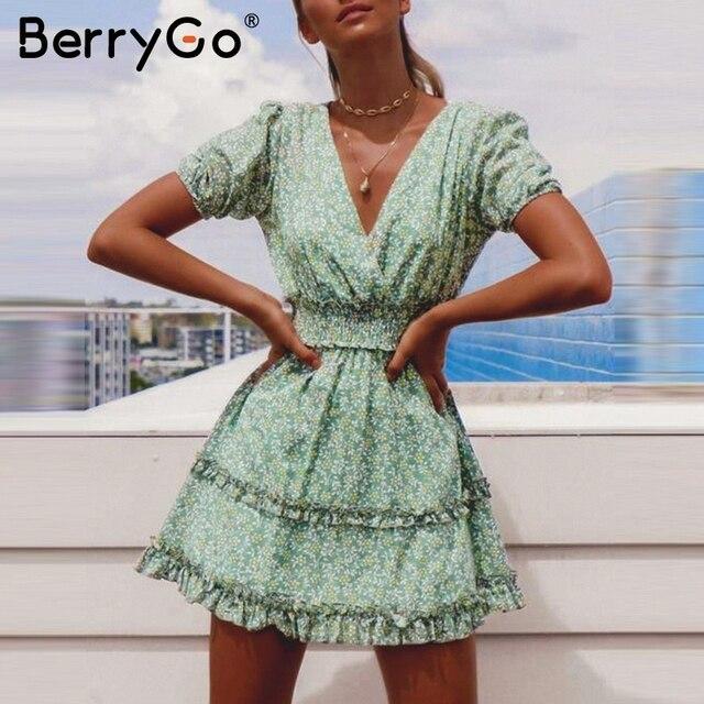 BerryGo богемное Хлопковое платье с цветочным принтом, женское зеленое платье с рюшами и v-образным вырезом, женские летние платья, праздничные пляжные женские платья
