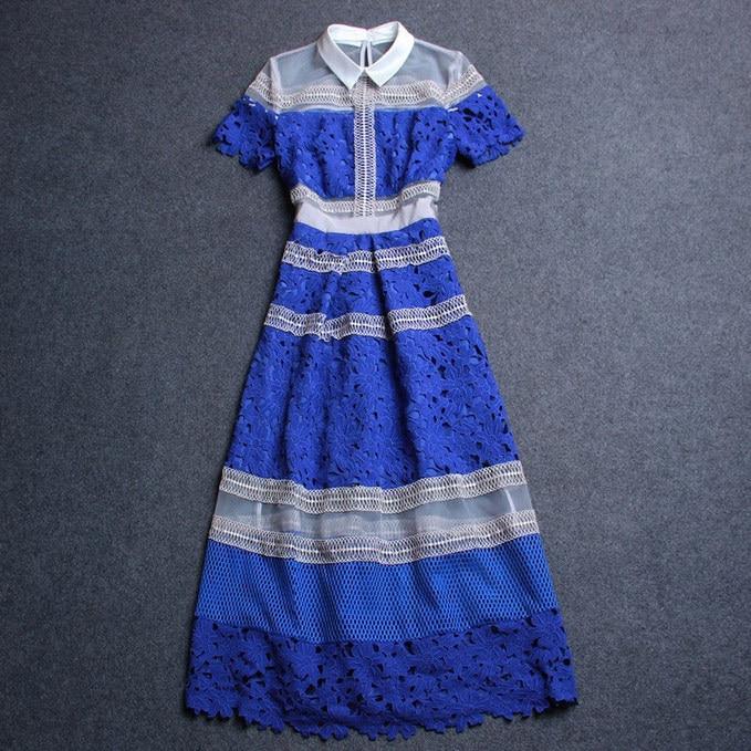 Платье Self Portrait женская одежда плюс размер платье-футболка сетки лоскутное синий крючком платье с коротким рукавом сексуальные прозрачные платья - Цвет: Синий