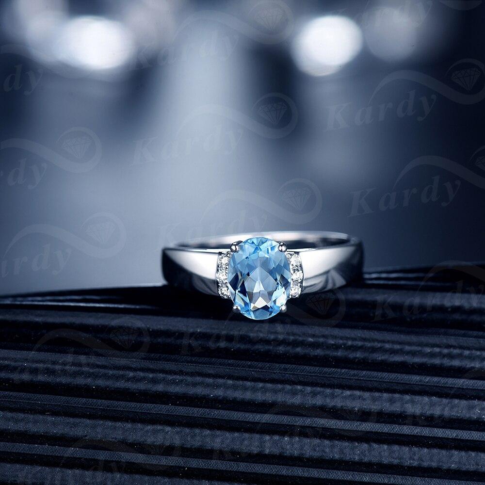 Aigue-marine bleu naturel diamant solide 14K or blanc broche diamant mariage promesse de fiançailles bague ensemble pour les femmes - 2