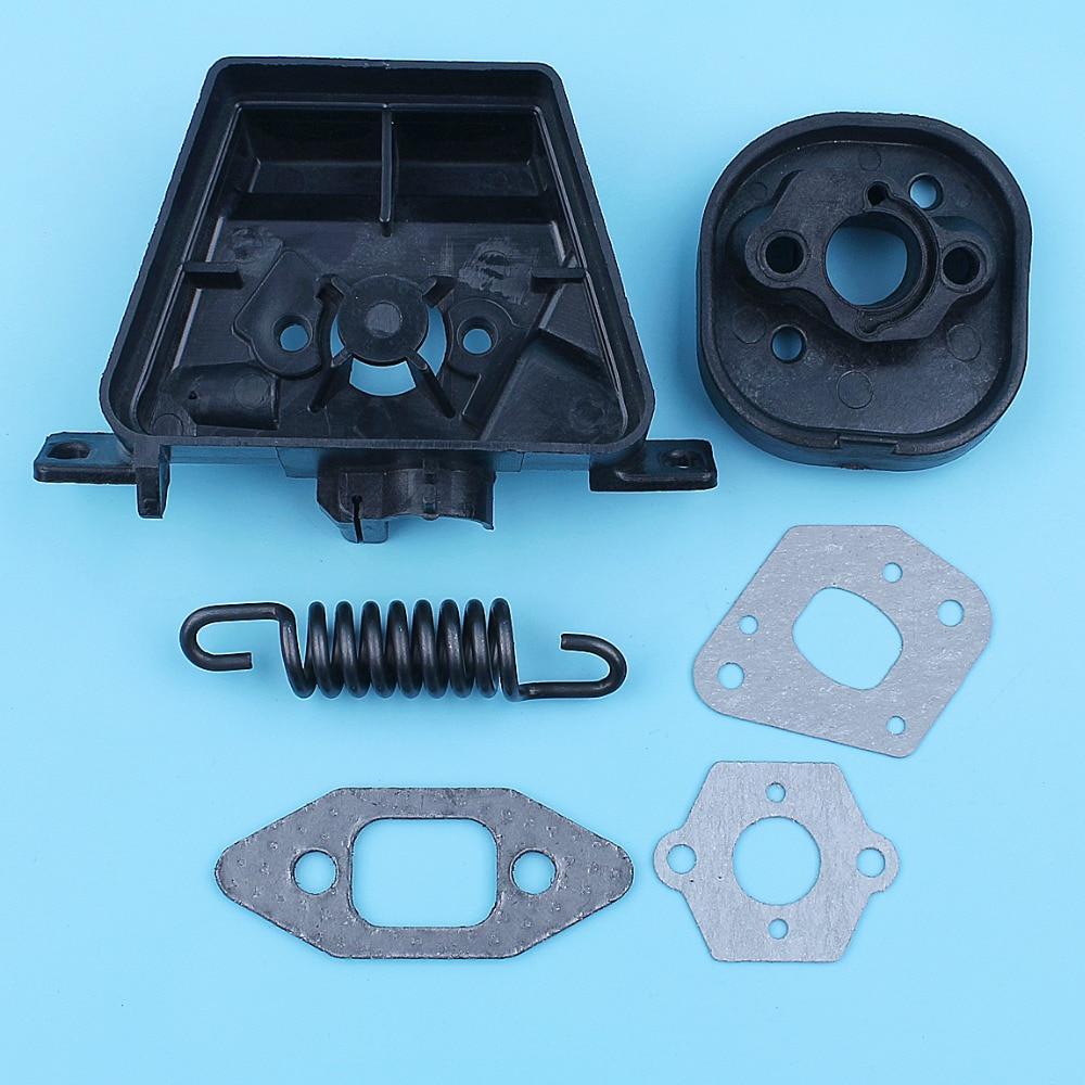 Carburetor Intake Manifold Gasket Set For Partner 350 351 370 371 420 Chainsaw Insulator AV Spring Replacement Spare Parts