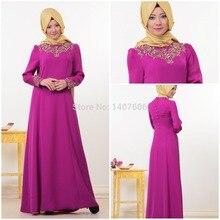 Fuchsia Rosa Stickerei Hijab Langen Ärmeln Kleid Muslimischen Dubai Marokkanischen Kaftan Kaftan Formale Party Kleider Abendkleider 2016
