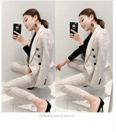 Work Office Pants and Jackets 2 Pieces Women Blazer Suit 2018 Autumn Vintage White Plaid Business Formal Suits For Women S7D332L