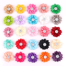 """1.6"""" 20pcs/lot 16 Petaled Rosette Satin Ribbon Flowers With Acrylic Button Used for Baby Diy Headband Clips Hair Accessories"""
