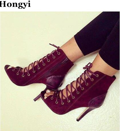 Hongyi spring Autumn women sexy wine red suede leather lace up peep toe patchwork thin high heel ankle boots trendy booties moraima snc spring summer newest fashion women boots peep toe lace up ankle lace up sexy thin super high heel