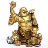 Chinese Pure Copper Happy Laugh Maitreya Buddha Yuanbao Wealth Coins Statue