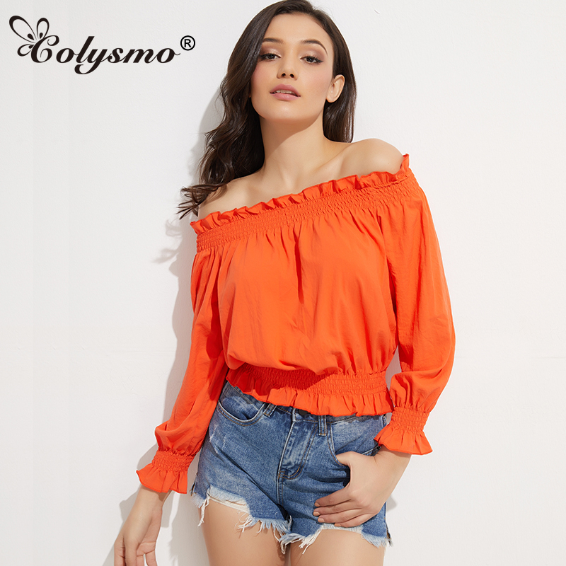 Colysmo Long Sleeve   Blouse   Women Off Shoulder Top Summer   Blouse     Shirts   Blusa Feminina   Shirt   Womens Tops And   Blouses   Blusas New