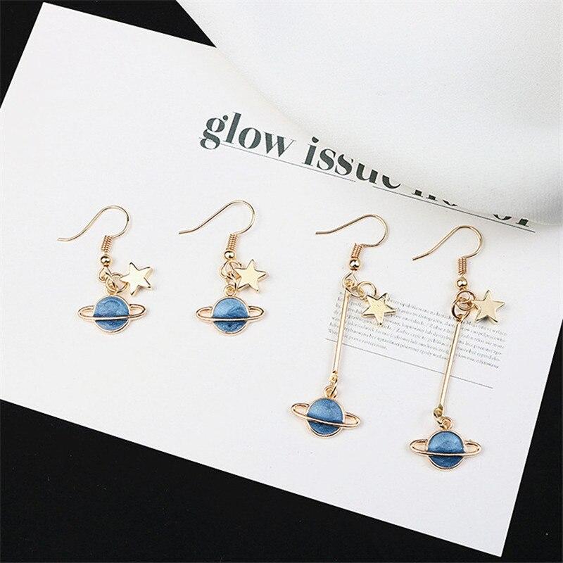 Korean Cute Cartoon Planet Saturn Star Vintage Literary Woman Girls Hook Dangle Drop Earrings Fashion Jewelry LAF in Drop Earrings from Jewelry Accessories