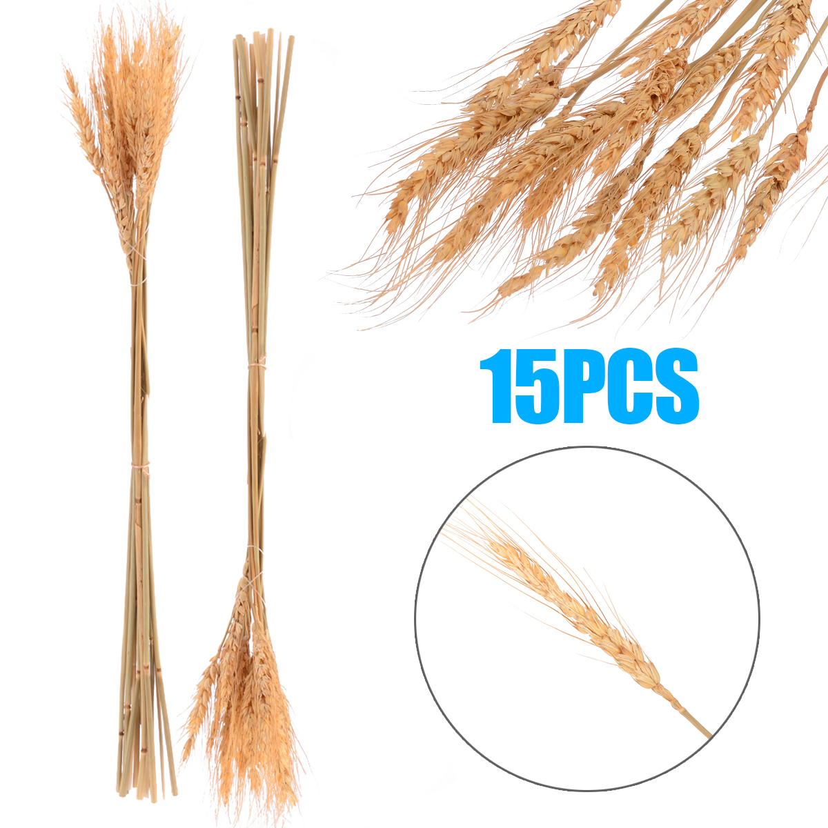 15pcs 1 branch of Wheat Dried Wheat Bouquet Photo Taking Prop Wedding Party Home Decoration Plant