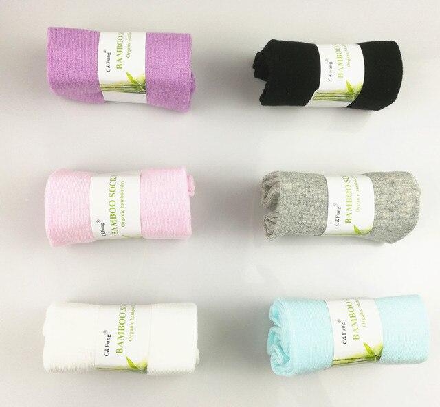 C & Fung marka kobiety bambusowe skarpetki skarpety pudełko wysokiej jakości włókna bambusowe sokken business Casual dress skarpetki dla kobiety 6 par