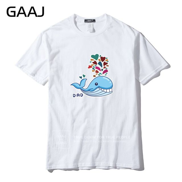 GAAJ Brand Men T Shirt Funny Cartoon Dad Mom Baby Family Cat Father