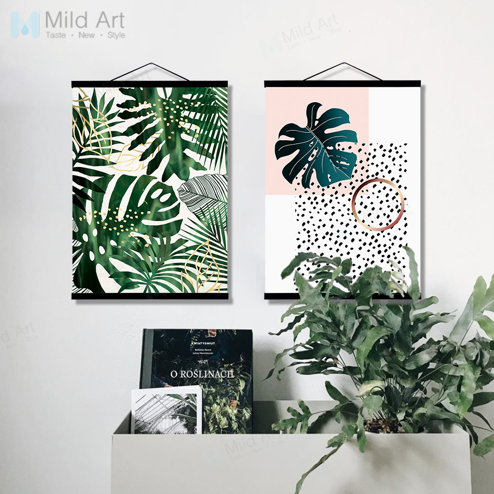Watercolor Green Plants Monstera Nature Posters And Prints: Aliexpress.com : Buy Green Plants Monstera Leaf Wooden