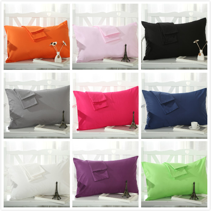 Hot Cotton Pillow Case Sham Bedding Pillow Solid color single Use Home Bed hotel Case 48