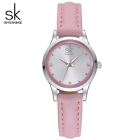SK Hot Women Creative Fashion Luxury High Quality Ladies Pink Leather Quartz Wristwatches Female Watch Women