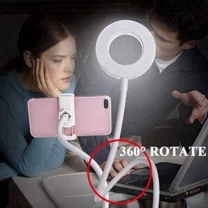 Image 5 - 2 EN 1 Paresseux Support Pour Téléphone 3 Modes LED Lumière de REMPLISSAGE Longs Bras De Bureau Lit réglable En Alliage Daluminium support streaming vidéo en Direct