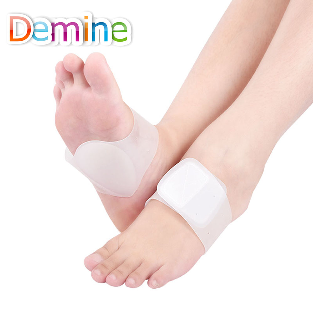 Demine Gel Bandage Foot Heart Pads Arch Support Women Man Silicone Insoles Feet Flat Orthotics Corrector Cushion Inserts Pads gel arch support insole high elastic bandage flat foot orthotics massage insoles support flat feet relieve pain shoe pads insert