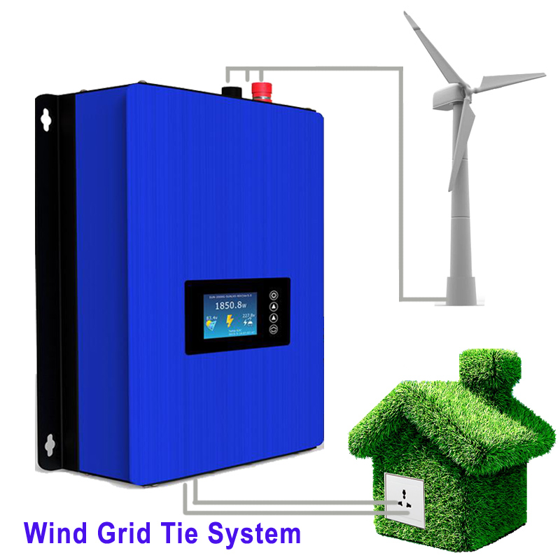 MPPT 2000W Wind Power Grid Tie Inverter with Dump Load Controller/Resistor for 3 Phase 48v 60v 72v wind turbine generator