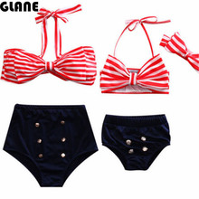 2017 Family Match Swimsuit Mother Daughter Striped Bowknot High Waist Bikini Set Swimwear Women Kids Bathing Suit Brazilian