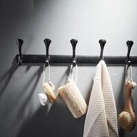 Towel hook Nordic free punching black bathroom clothes holder towel rack door back wall hanging hook wx7231602